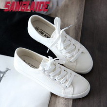SANGLAIDE 2016 New Autumn Summer Solid Color Low Canvas White Casual Brand Women Flat Shoes Fashion Lace Up Shoe Breathable(China (Mainland))