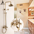 Free Shipping Luxury NEW Antique Brass Rainfall Shower Set Faucet Tub Mixer Tap Handheld Shower Wall