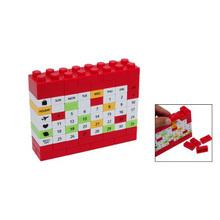 Affordable Perpetual Plastic Bricks DIY 3D Puzzle Desk Calendar Red(China (Mainland))