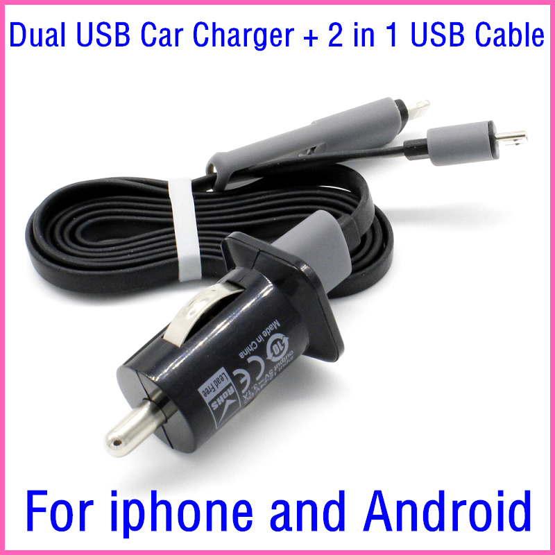 Universal 2.1A Dual USB Car Charger Adapter + 2 in 1 Cable For Micro USB Cable For Iphone 6 5 5s For Samsung For Xiaomi android(China (Mainland))