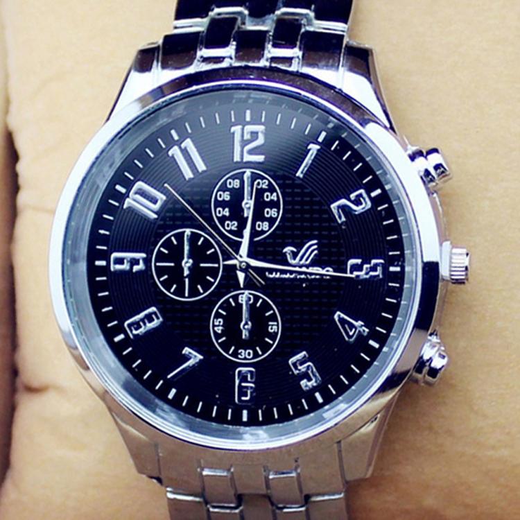 2015 Classic men watches Fashion Three Eyes Steel Belt Business Quartz wristWatch Black