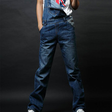 2015 denim bib pants male jeans trousers straight spaghetti strap pants jumpsuit pants loose