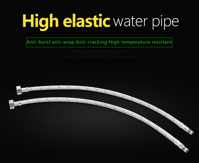 Faucet Hose 2X20'' Flexible Plumbing Hoses Faucets 12 Line Tubing Stainless Steel Bathroom Water Supply Line Hose TubingHoses (1)