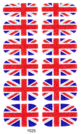 Manicure Glitter Decor Foil Decals Adhesive Nail Art Stickers UK British flag Design Full Cover Nail Wraps Sticker(China (Mainland))