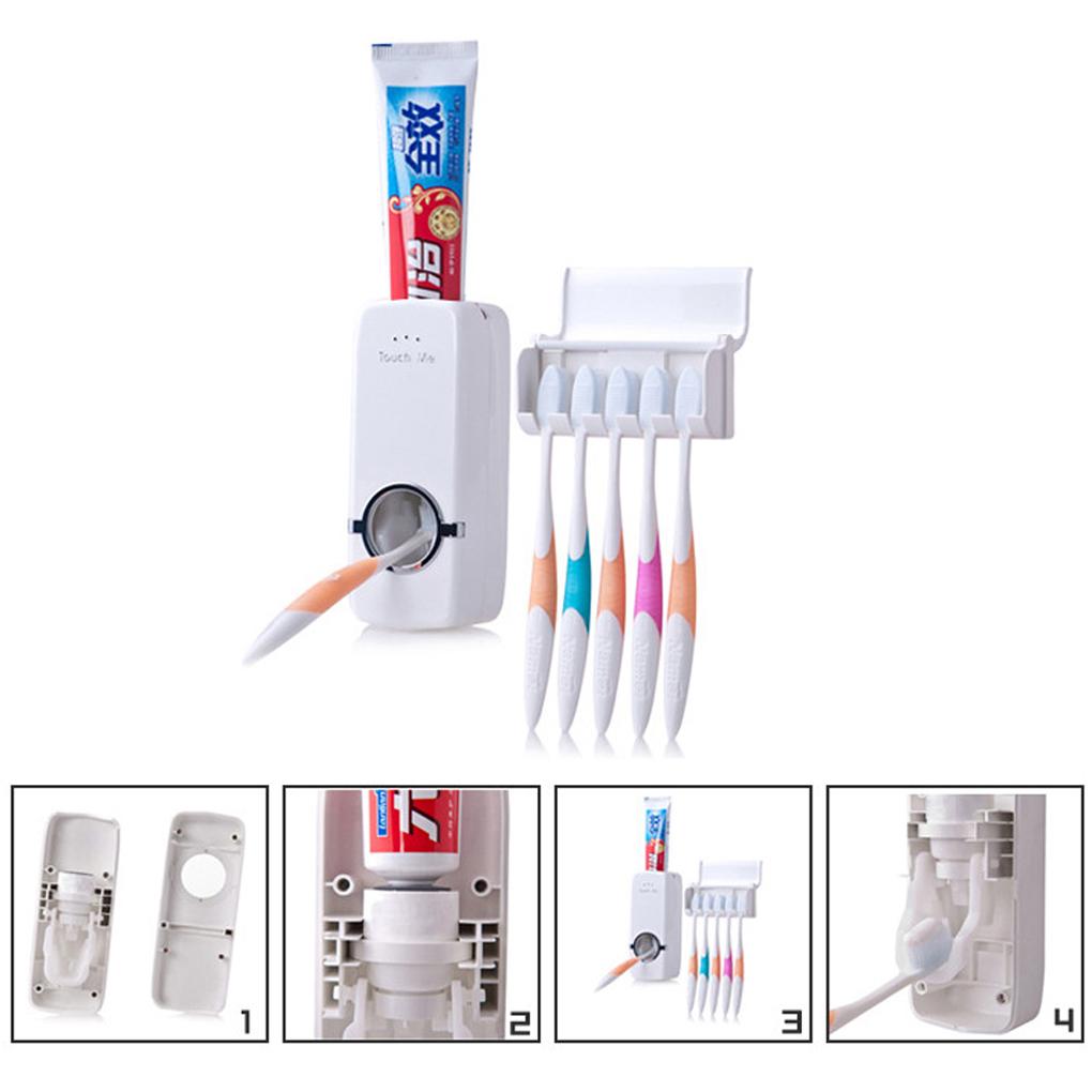 New HQ Toothbrush Holder Automatic Toothpaste Dispenser Tooth Paste Tube Squeezer Dispenser Tooth Brush Holder Rack Box(China (Mainland))