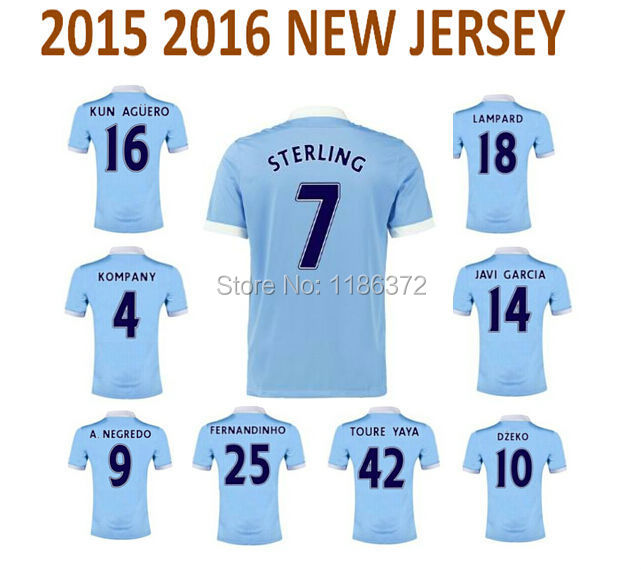 new top quality 2015 2016 15 16 manchester Sterling kun Aguero Camiseta mens city football soccer jersey uniform custom name(China (Mainland))