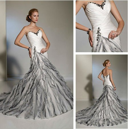 Top Quality Women Vintage Beaded Crystals Organza Full Skirt Mermaid Style Wedding Dress White Black Bridal Gowns(China (Mainland))
