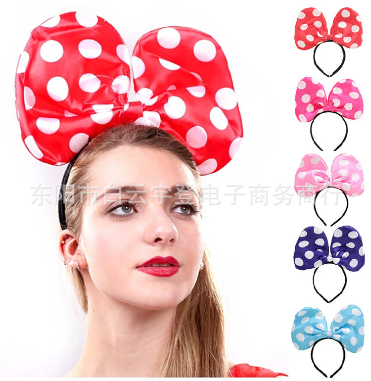 Children Hair Accessories Mickey Minnie Mouse Ears Headbands Birthday party Boys Girls headband mickey Party Accessories(China (Mainland))