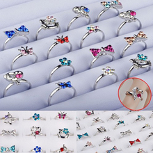 30Pcs/Lot Heart Design Crystal Flower Butterfly Ring Silver Plated Assorted Kid Children Party Adjustable Rings Jewelry Gift(China (Mainland))