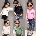 Winter Necessary Girls Long Sleeve Thicken Shirt Boys Basic Fleece Three Buttons Baby T shirt Smiling
