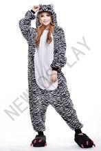 New Japan Animal Zebra Fashion Fresh Color Fleece Casual Long Sleeve Winter Pajama Pyjamas Party Dress