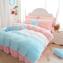 Coral fleece Duvet Cover 4pcs Bohemian Bedding Set Soft Polyester Bed Linen Duvet Cover Pillowcases Bed Sheet Sets Home Textile(China (Mainland))