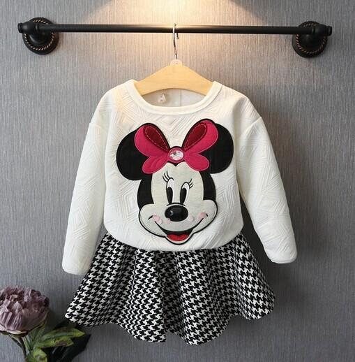 Fashion Children girls cartoon 2 pcs clothes set Girls sweat suits White hoodies + plaid pettiskirt(China (Mainland))