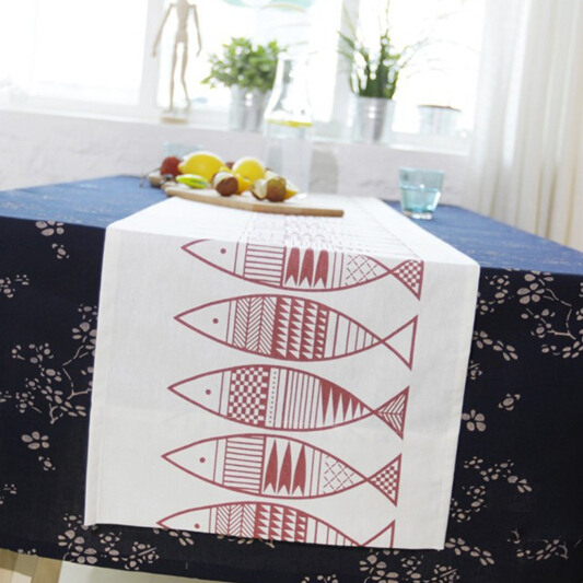 Table Runner Japanese IKEA Style Manteles Para Mesa Red Fish Stick Figure Printing Chemin De Table Warm Dining Table Decoration(China (Mainland))