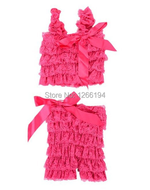 Summer Style Baby Girl Lace Posh Petti Ruffled Rompers Dancewear Set With Straps Hot Pink Top And Short Set Free Shipping(China (Mainland))