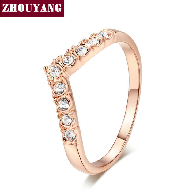 Top Quality ZYR011  V Lover Hot Sell Elegant  Rose Gold Plated  Wedding Ring  Austrian Crystals Full Sizes Wholesale