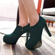 Spring ultra high heels thin heels zipper solid color platform shoes    chinese(China (Mainland))