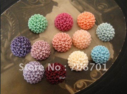 Free Shipping Cheap 10mm 14Colors Resin Flower Cabochons for Jewelry Decoration Accessories Wholesale 100pcs/lot