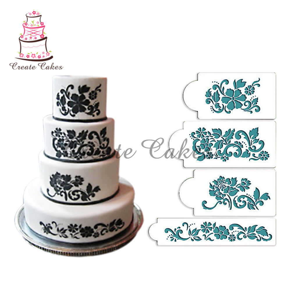 Cake Decorating Stencils : Floral Explosion Cake Stencil Set, Flowers Cake Stencil ...