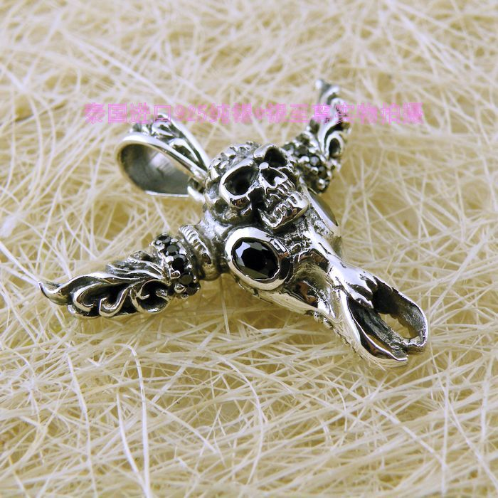 Carved black diamond skull 925 pure silver pendants<br><br>Aliexpress