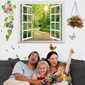 Fake Window 3D Wall Sticker Creative Mural Sticker DIY Home Decor for Living Room Kids Rooms