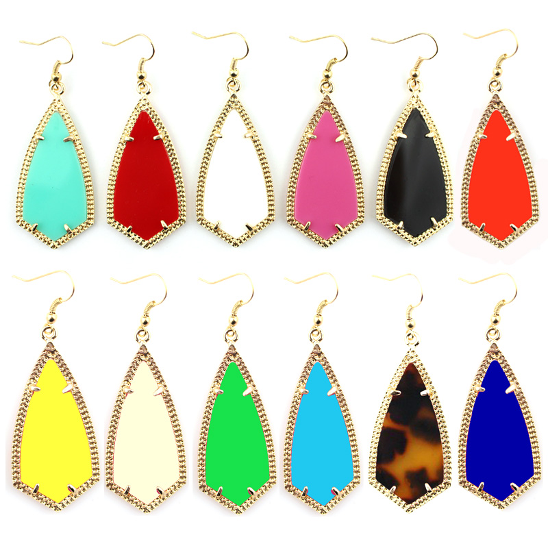 E2399 Gold Kite Inspired Design Gold Frame Rhombus Earrings American Fashion Southern Style Women Boutique Jewelry Wholesale(China (Mainland))