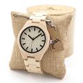 BOBO BIRD Mens White Maple Wooden Watch with Maple Wood Links Causal Wood Quartz Wrist Watch