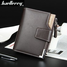 Hot Sale Quality Soft Leather Men Wallets Vertical Business Leisure 3 Folds Hasp Zipper Credit Card Holder Wallet Free Shipping(China (Mainland))