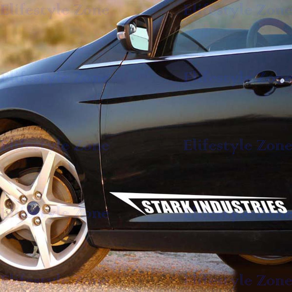2 x New Style Ironman Stark Industries Decoration Stickers Car Whole Body Decals for BMW Benz Audi Fiat Toyota Honda Tesla(China (Mainland))