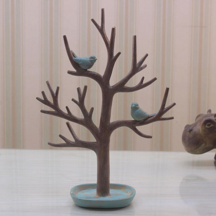 American country decoration small bird jewelry rack European high-grade resin craft ornaments(China (Mainland))