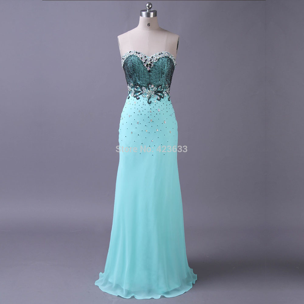 Real Photo Elegant Sweetheart Beaded Sky Blue Chiffon Long Prom Dresses/Prom Party Dresses/Custom Made - XCOS Wedding Dresses Co.,Ltd store