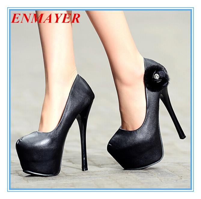 ENMAYER  Top Quality Women High Heeled Shoes Date Party Pumps 2015 Brand New Half Wemens Wedding Shoes Patent Platform Pumps<br><br>Aliexpress