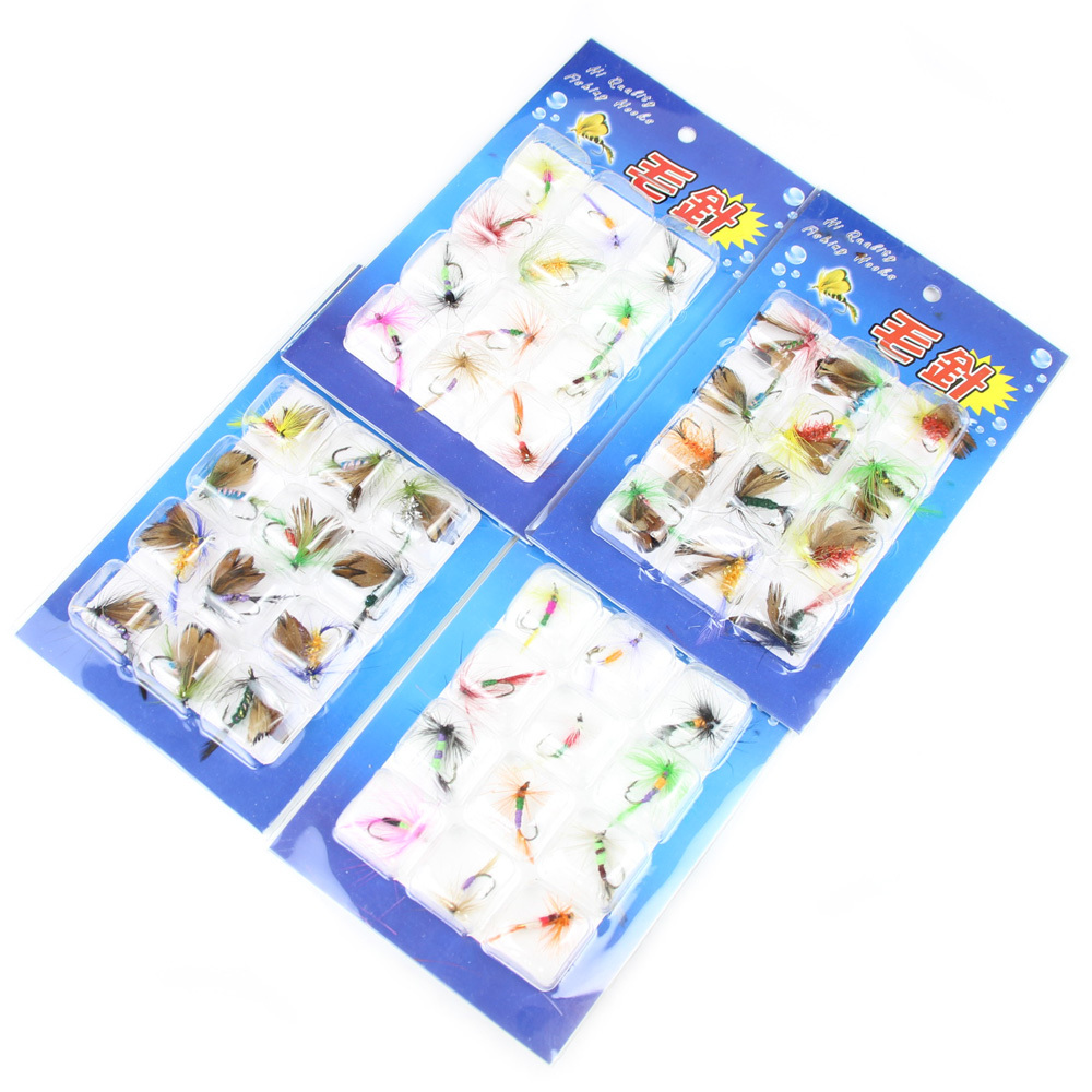Wholesale fishing lures 48pcs/lot various trout fly fishing flies lures games sea artificial insect bait trout flies(China (Mainland))