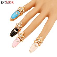 Прекрасный позолоченные кольца для женщин Горный Хрусталь корона совет Розовый синий Черный Белый Nail ring мужчины ювелирные изделия anillos bague femme(China (Mainland))