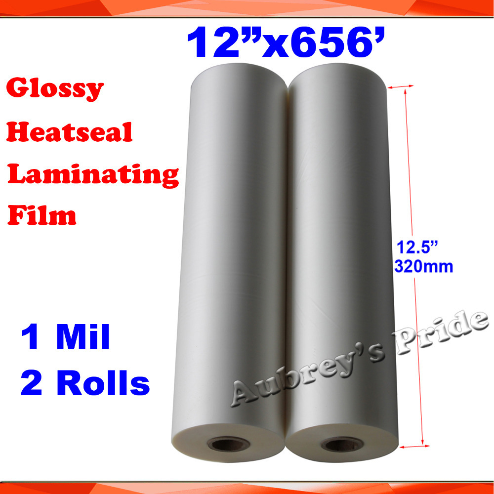 "2 Rolls 28Mic 320MMx200M (12.5""X656') 1Mil Glossy Clear 1"" Core Hot Laminating Films Bopp for Hot Roll Laminator(China (Mainland))"