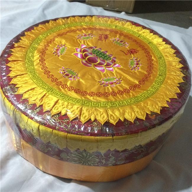 Round Lotus Embroidered Meditation Cushion Seat Cushion Wood And Epe Filling Beautiful