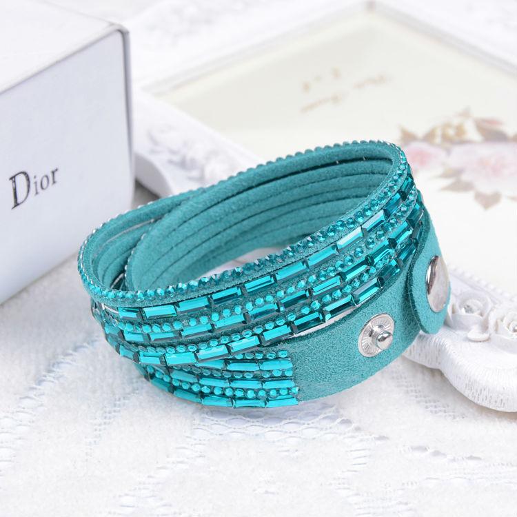 2016 Selling Модный 12 Layer Leather Bracelet multiЦвет Charm Bracelets Bangles For Женщины Кнопкаs Adjust Размер