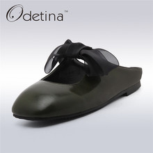 Buy Odetina 2017 Fashion Woman Slingback Flats Square Toe Ballet Flat Shoes Bow Summer Slip Loafers Half Slippers Ladies Mules for $22.99 in AliExpress store