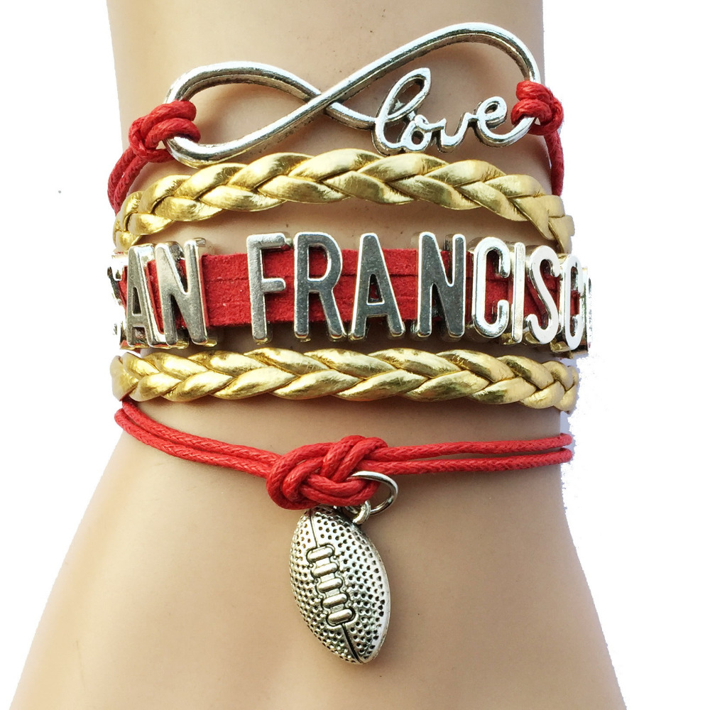 Infinity love San Francisco NCAA Football College Team Bracelet- Custom Sports Leather Wrap Bracelet Bangle(China (Mainland))