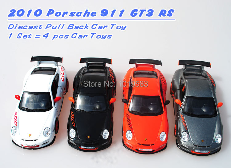 (10pcs/pack) Brand New KINGSMART 1/36 Scale Car Model Toys P-0rsche 911 GT3 RS Diecast Metal Pull Back Toy