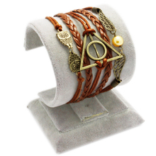 2015 Hot sale Multilayer PU Leather Harry Potter magic Hallows  golden snitch pocket Bracelet Bangles Factory Price(China (Mainland))