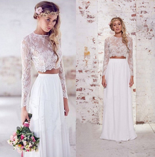 Buy 9011 High new style Lace Full Sleeves White Ivory Wedding Dresses brides plus size maxi formal free for $79.19 in AliExpress store