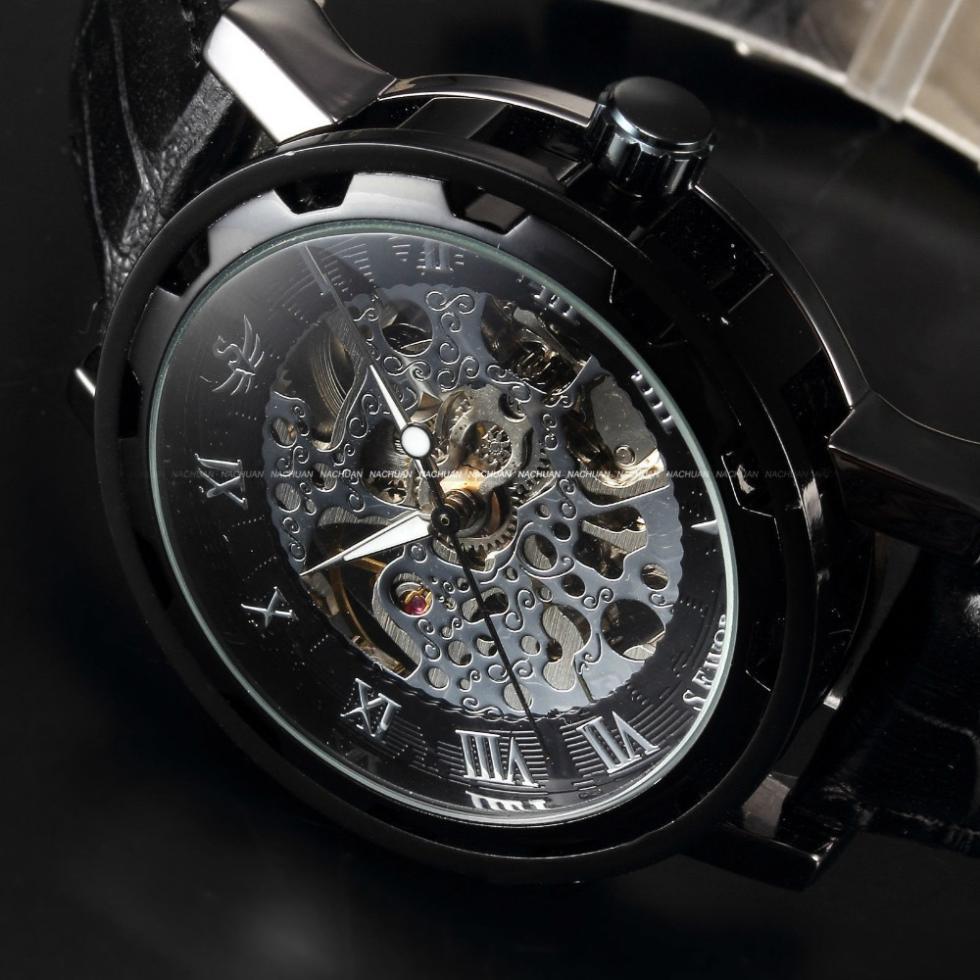 Mens Classic Elegant Black Skeleton Dial Mechanical Leather Sport Army Watch - Zeus jewelry store