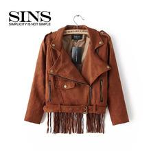 Suede Jackets For Women 2015 New Fashion Tassel Leather Jackets Slim Patchwork Fashion Women  Coats Short Women Leather Jackets(China (Mainland))