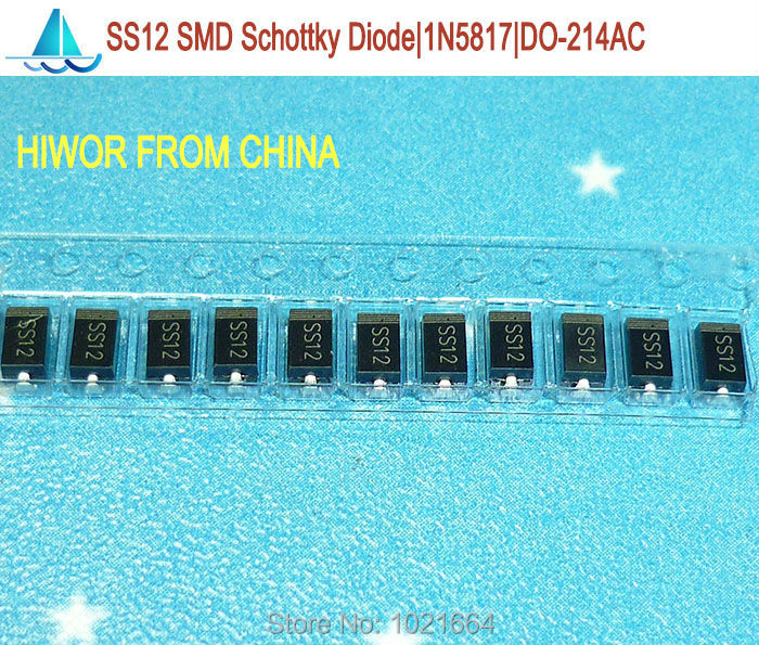 (200pcs/lot) 1N5817 SS12 SMD Schottky Barrier Rectifier Diode, SMA Diode 1A 20V, DO-214AC(China (Mainland))