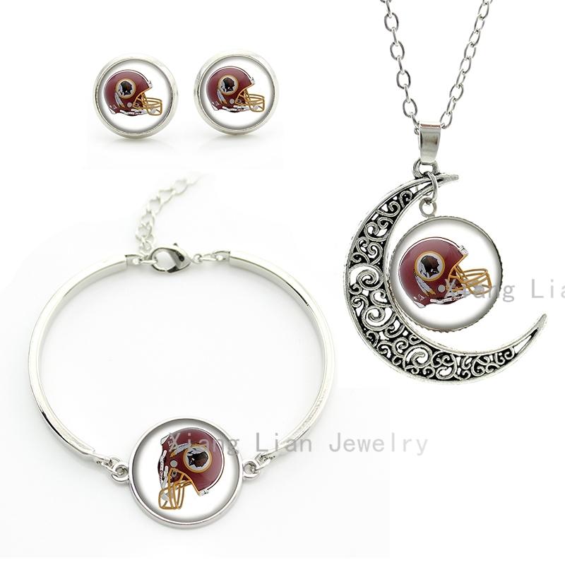 Handmade rugby jewelry set Washingtom Redskins team helmet NFL american football pendant necklace earrings bracelet sets NF152(China (Mainland))