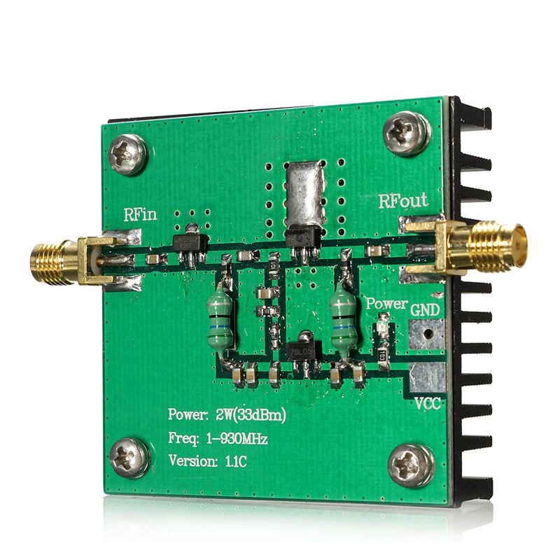 1-930MHz 2W RF Broadband Power Amplifier Module for Radio Transmission FM HF VHF 48x48x13mm Circuits Amplifier Modules(China (Mainland))