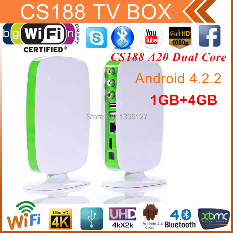 2015 New cheapest android 4.2.2 TV Box CS188 Dual core A20 WIFI HDMI RJ45 with ir remote cvbs smart google tv box smart tv box(China (Mainland))