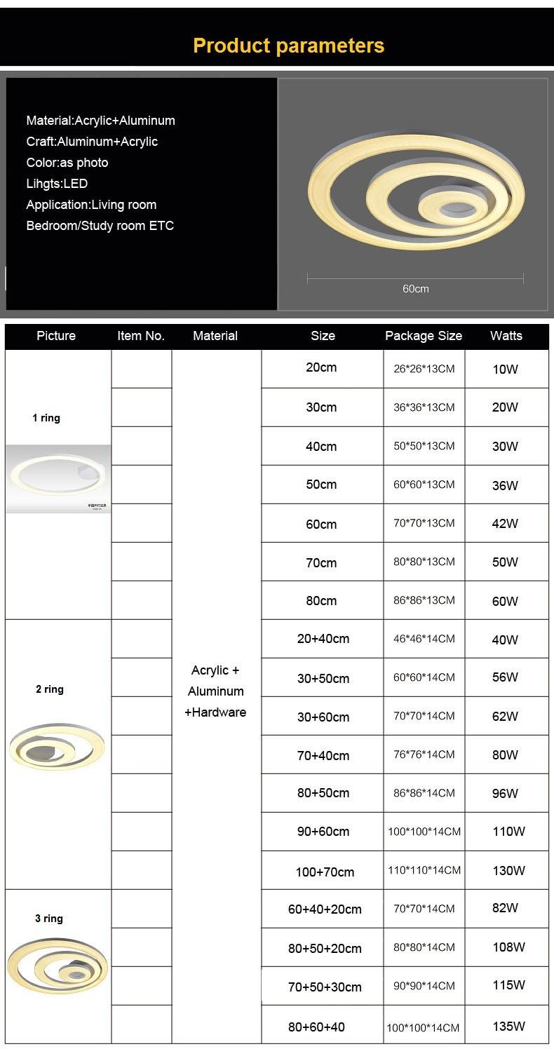 Купить 3/2/1 кольцо СВЕТОДИОДНЫЕ современные акриловые потолочные светильники, крытый декоративное освещение, бесплатная доставка