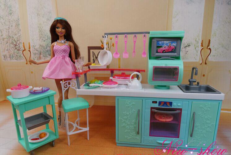 Muebles de casa de muñecas utensilios de cocina Cookhouse gabinete